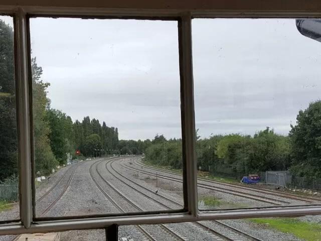 through the signal box window