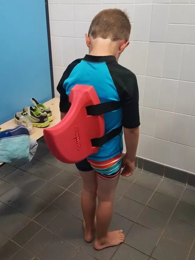 trying out a swim fin