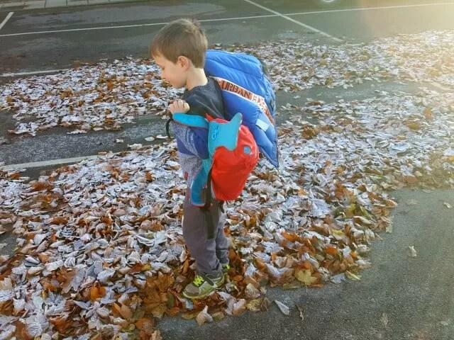 walking in frosty leaves
