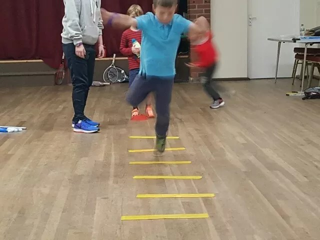 obstacle session to warm up at tennis club