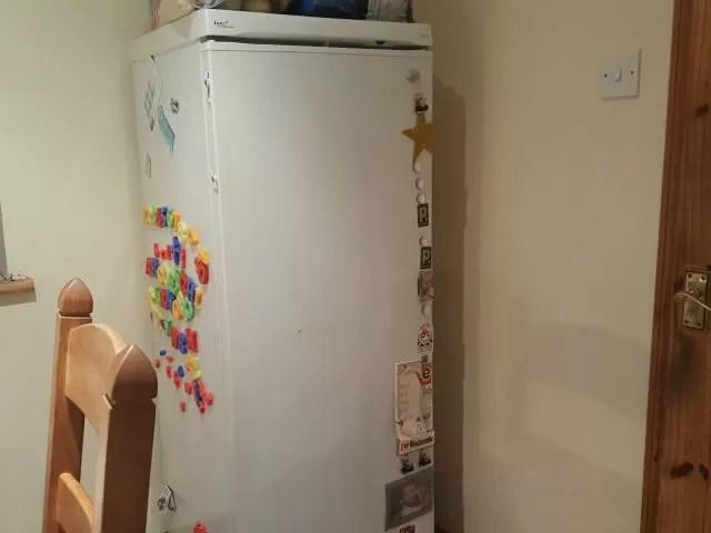 empty fridge front