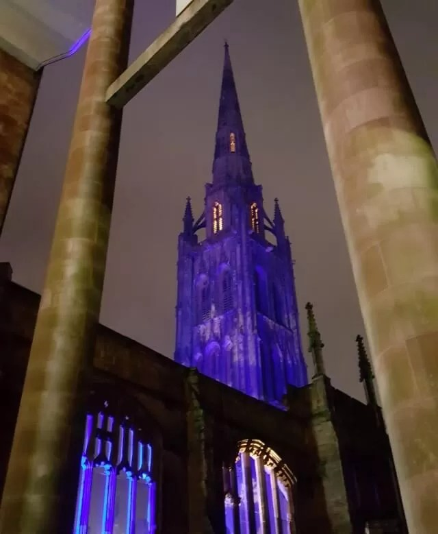 My Sunday Photo Coventry Cathedral lit up