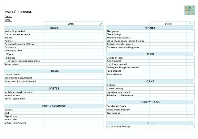 Birthday party planning checklist - Bubbablue and me