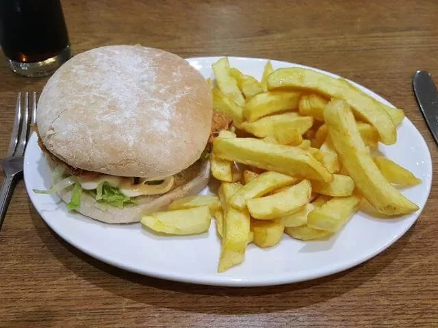 chicken burger and chips at Berties