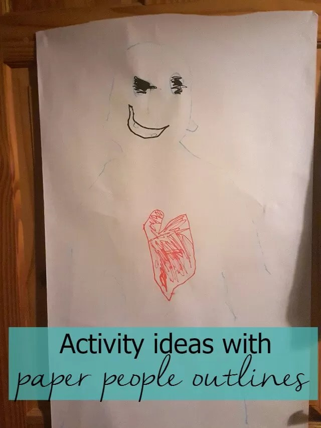 Paper people outline activity ideas for children - Bubbablue and me