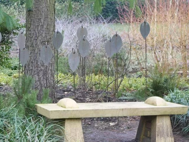 bench in Mottisfont winter garden