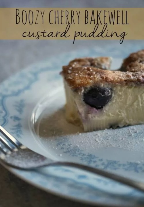 boozy cherry bakewell custard pudding - Bubbablue and me