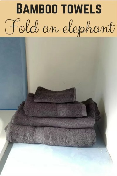 Folding bamboo towel elephants and a review - Bubbablue and me