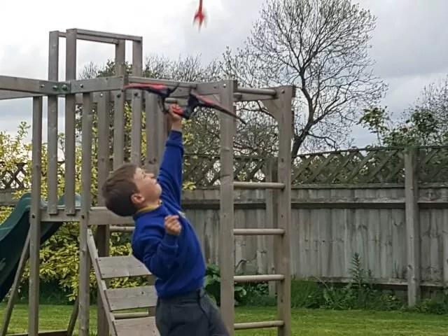 shooting arrows in the garden