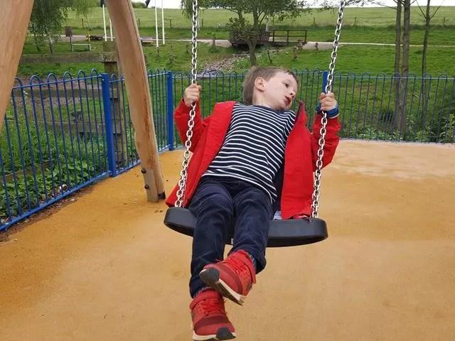 swinging at Ryton Pools Country Park