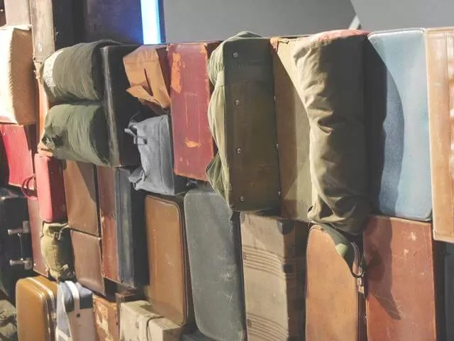 evacuees suitcases at imperial war museum