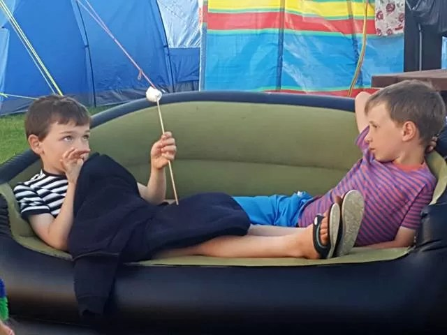 chilling out on the camping sofa