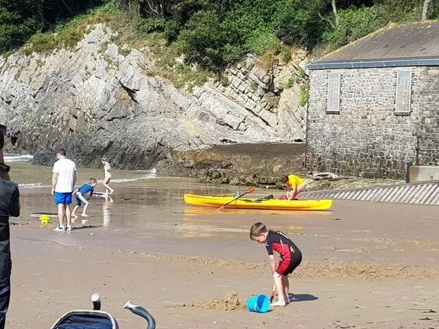 digging at caswell bay