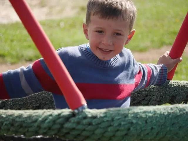 happy on a swing
