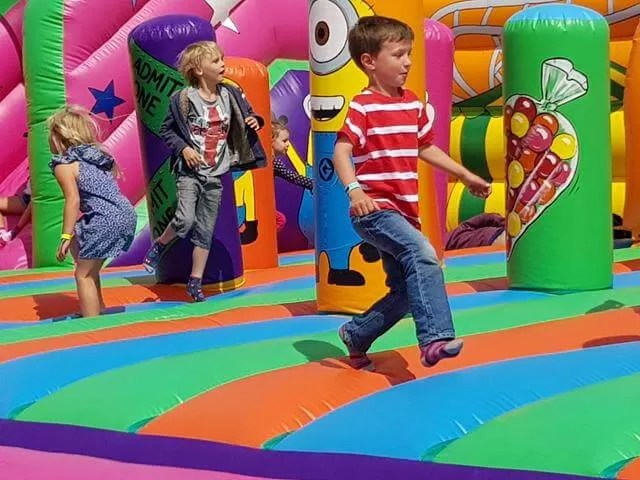 on the bouncy inflatiables