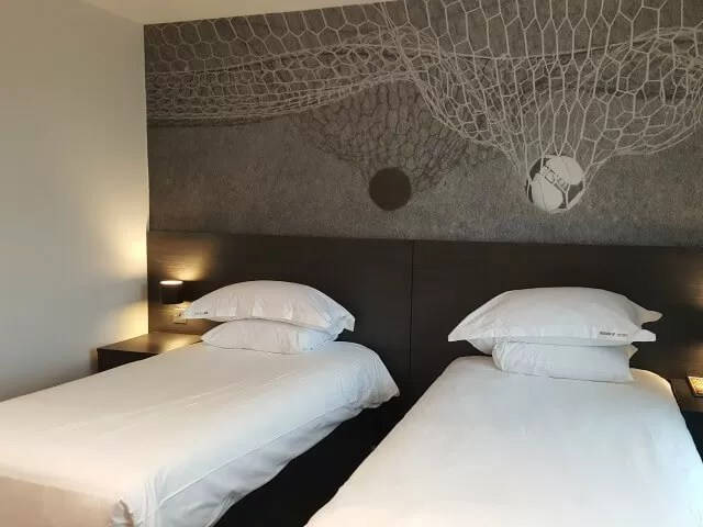 bedroom at hotel football