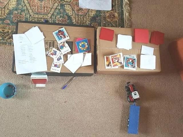 christmas card writing station