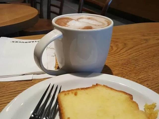 starbucks hot chocolate and cake
