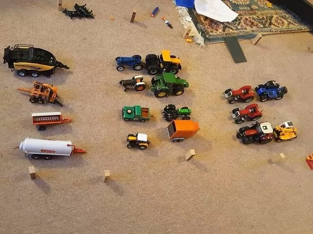 farm toys lined up