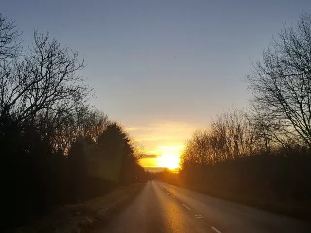 sunrise over countryside roads