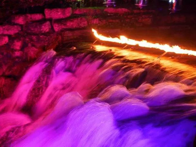 cascades at Blenheim under lights