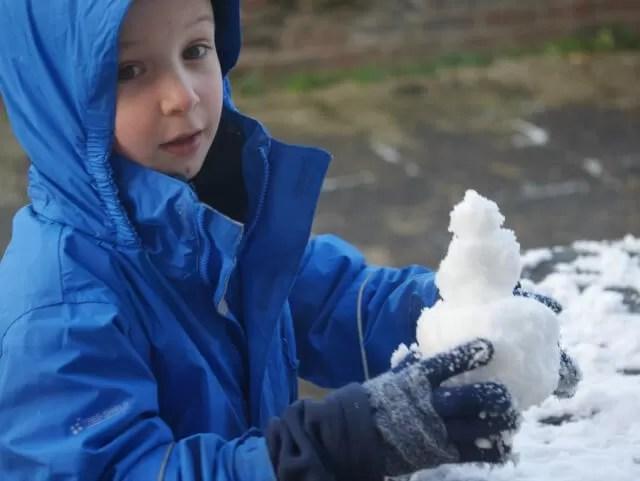 building a mini snowman