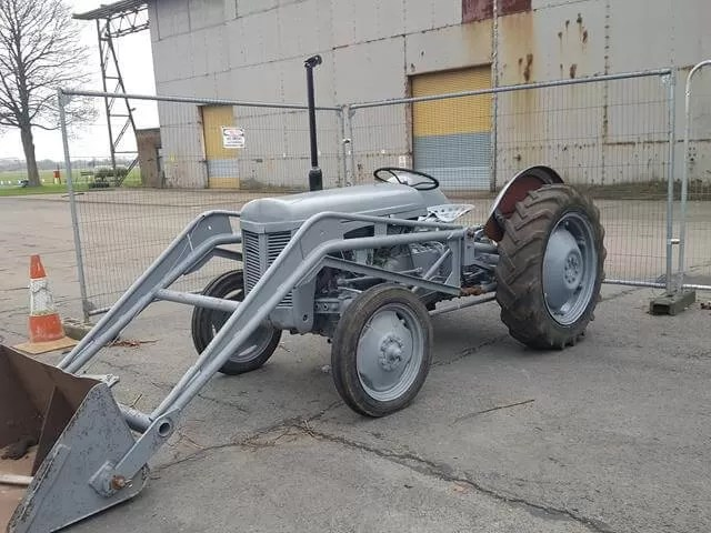 old grey tractor