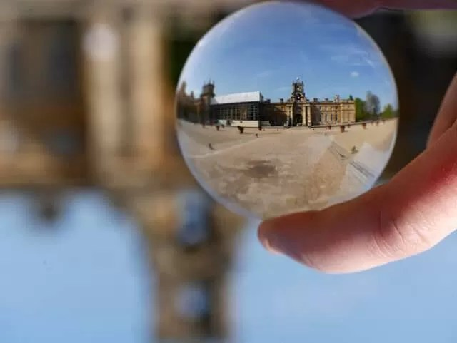 blenheim palace through a lensball