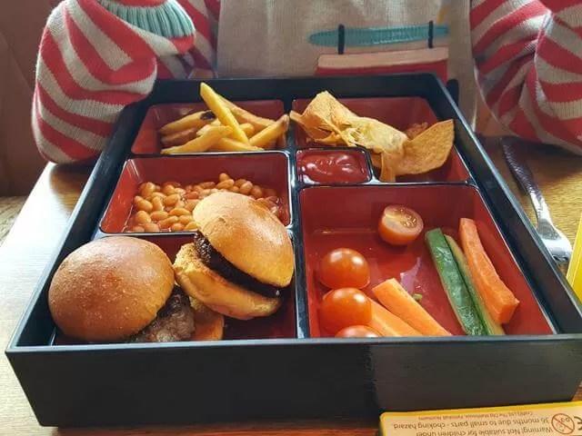 kids burger bento box