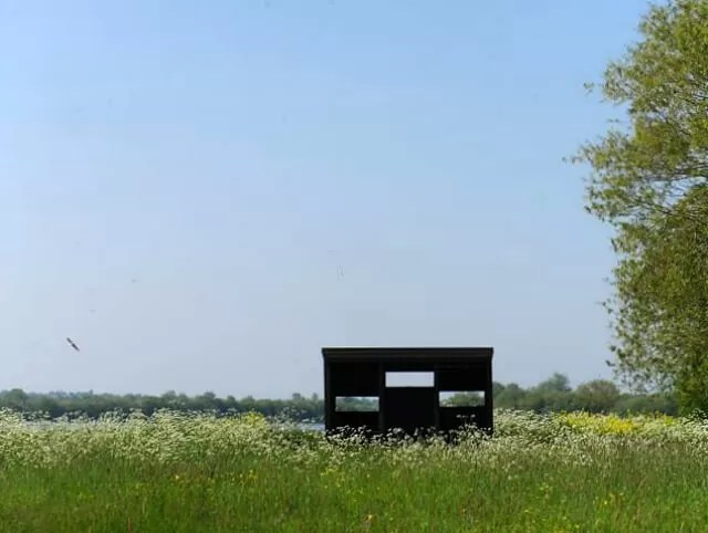 bird hide over the meadow at stanwick lakes
