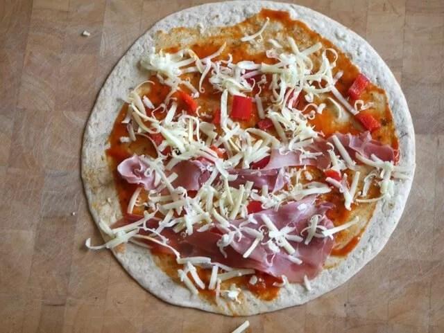 ham and margarita pizza wrap