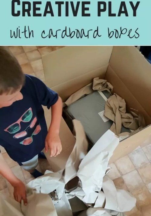 Creative play - cardboard box play - Bubbablue and me