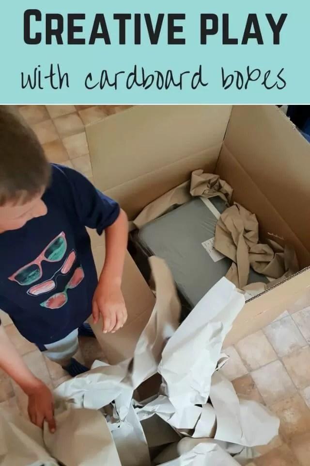 Creative play - cardboard box play - Bubbablue and me