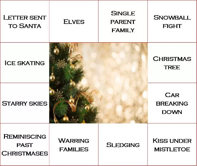 example christmas bingo movie card