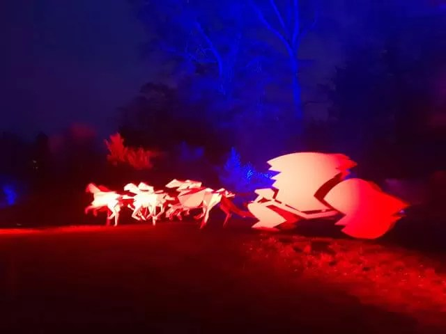 lit up sledge and horse sculpture