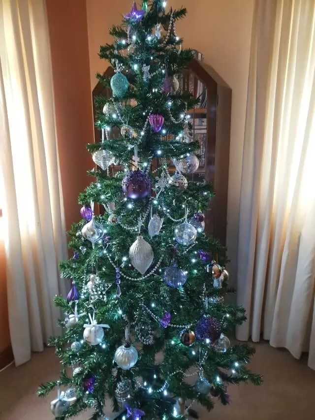 purple, silver and clear christmas tree decorations