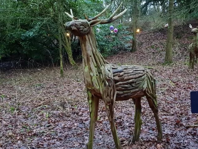wooden reindeer sculpture