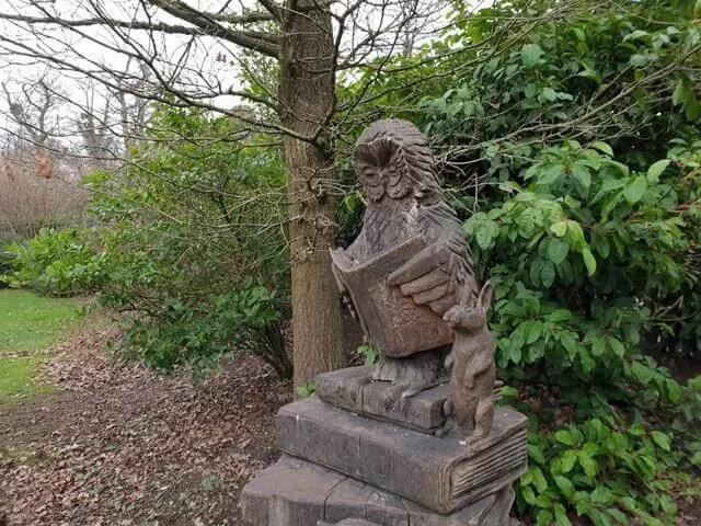 entrance sculpture at start of storybook den