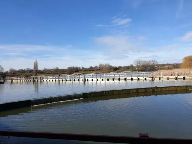 boardwalk across the lake at Wicksteed park
