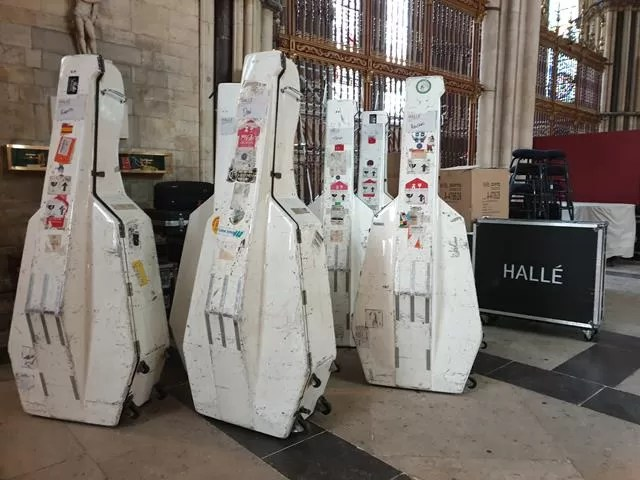 Halle orchestra on tour double bass