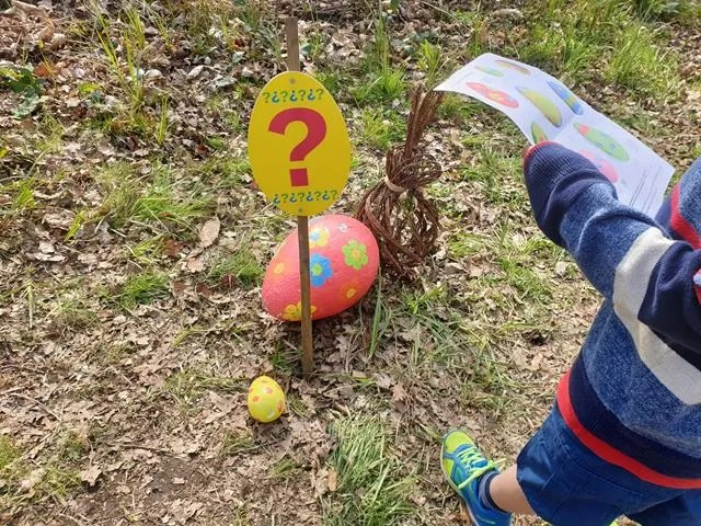 finding painted easter eggs on the trail