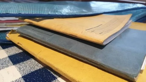 school books on table.