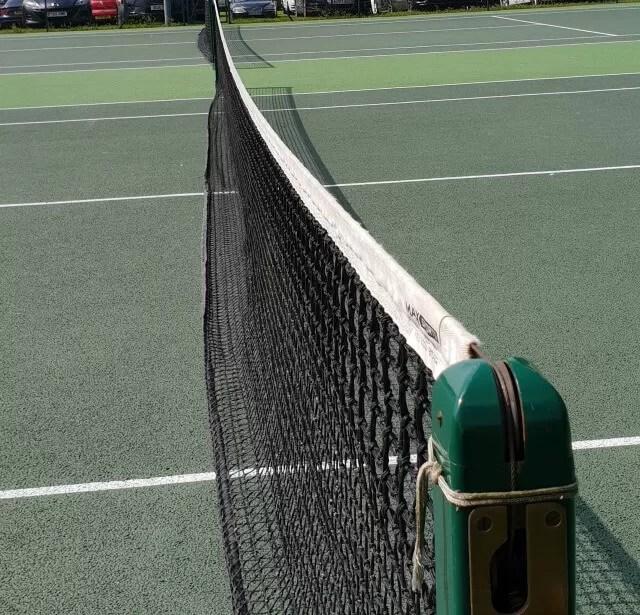 team tennis matches and a tennis net