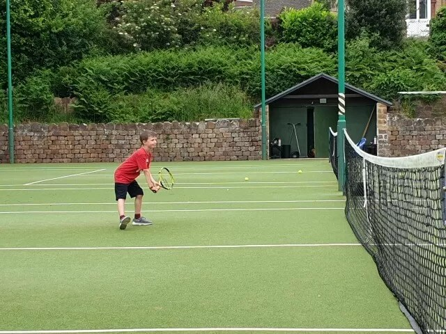 playing mini tennis