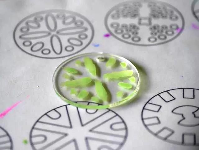 finalised perspex decorated disc