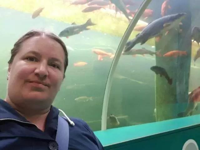 me standing under the aquarium tunnel
