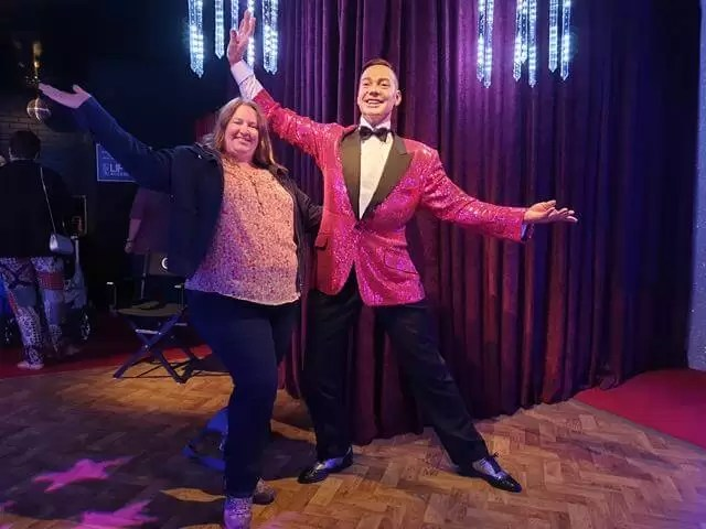 posing with Craig Revel Horwood waxwork