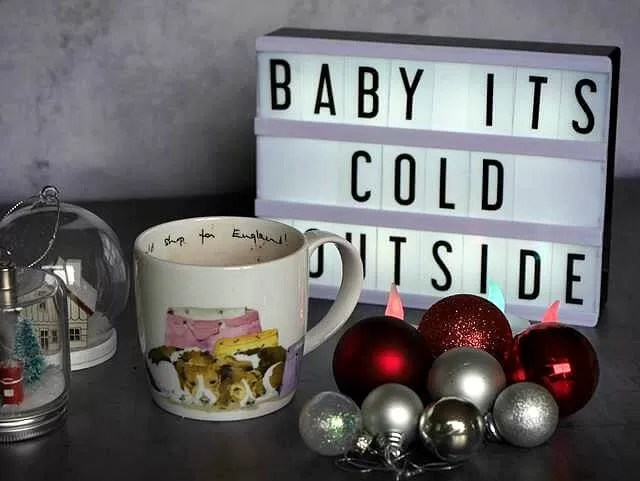 baby its cold outside sign and hot chocolate