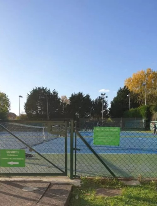 tennis courts in the sun