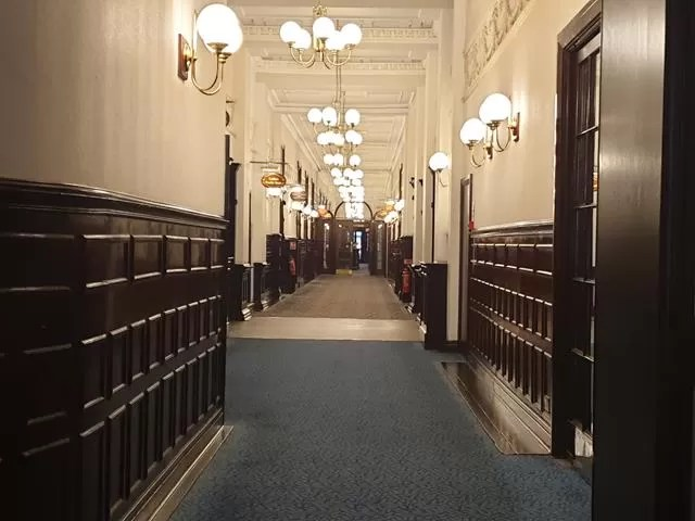 wide corridor in imperial hotel